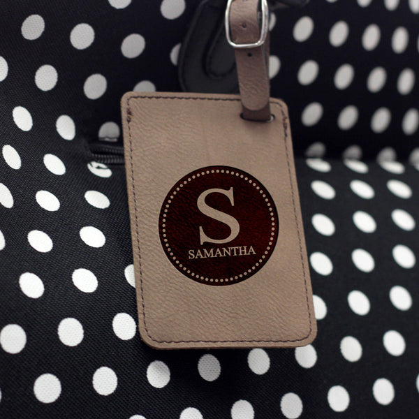 """Samantha"" Personalized Leather Luggage Tag"