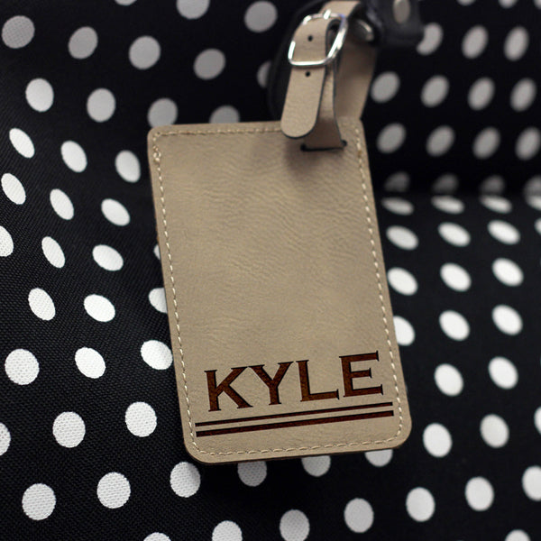 """Kyle"" Personalized Leather Luggage Tag"