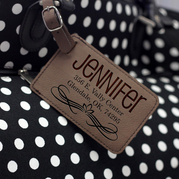 """Jennifer"" Personalized Leather Luggage Tag"