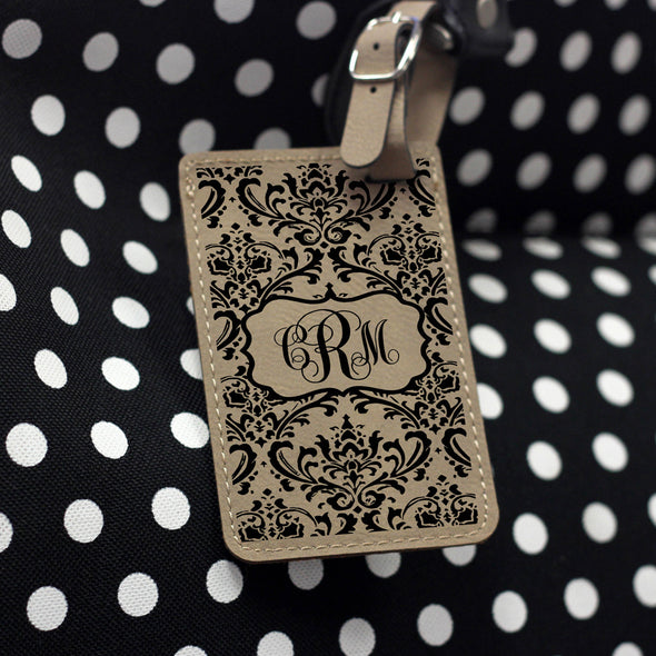 """Damask"" Personalized Leather Luggage Tag"