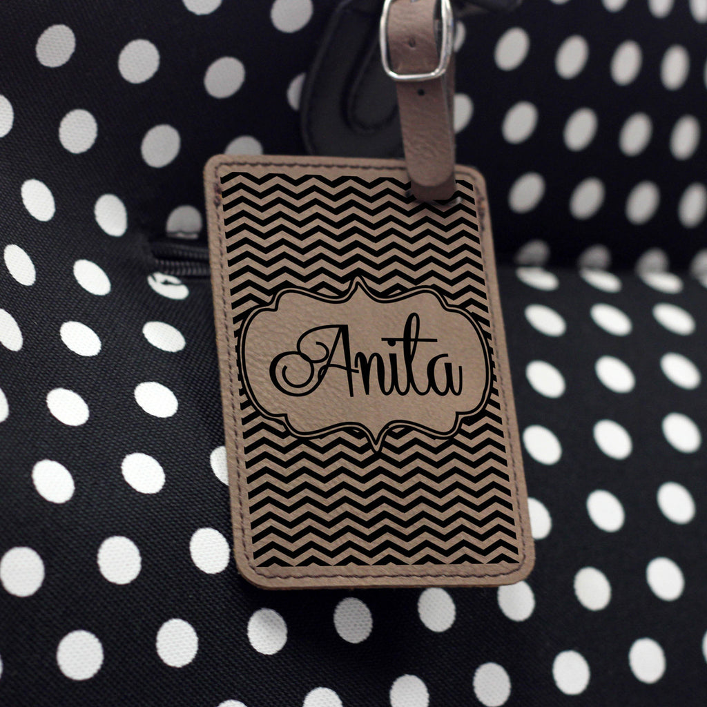 """Chevron"" Personalized Leather Luggage Tag"