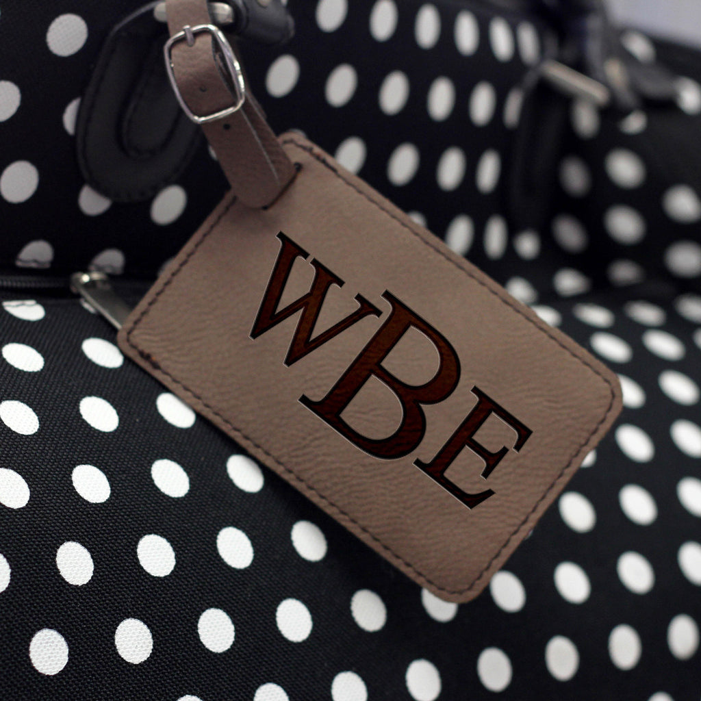 """Classic Monogram"" Personalized Leather Luggage Tag"
