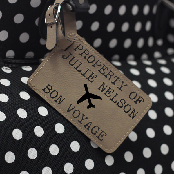 """Bon Voyage"" Personalized Leather Luggage Tag"