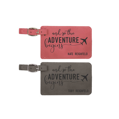 "Wedding Luggage Tag Set, And So The Adventure Begins Luggage Tag Set ""Reighfeld"""