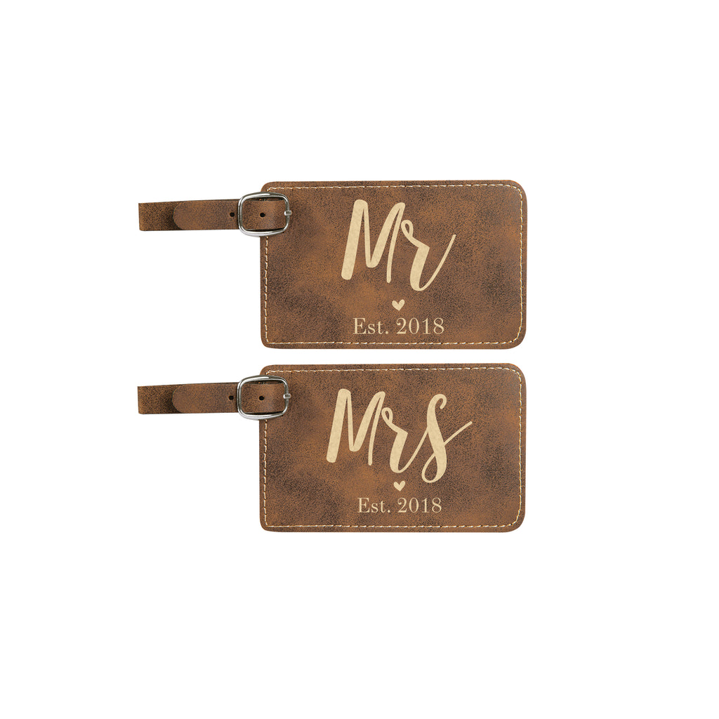 Wedding Luggage Tag Set, Mr & Mrs Luggage Tag Set
