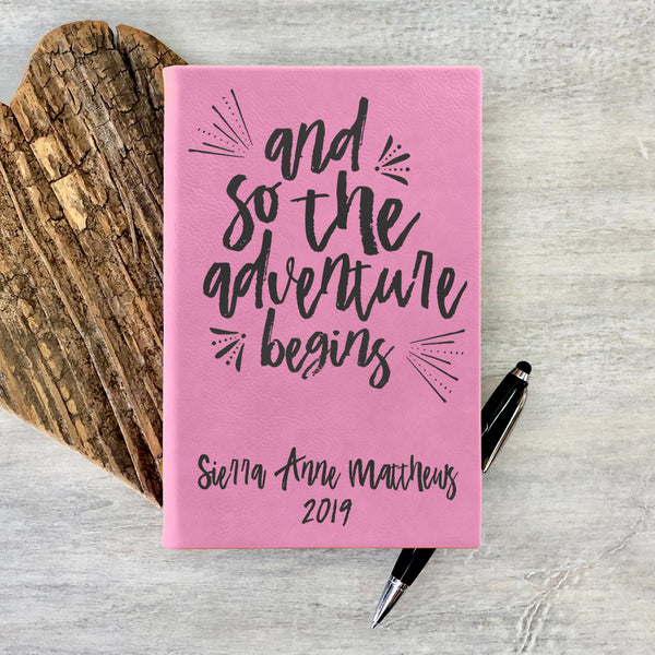 "Personalized Journal - ""And So The Adventure Begins"""