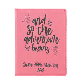 "Passport Cover, Engraved Passport Cover, Custom Passport Holder, ""And so the adventure begins"""