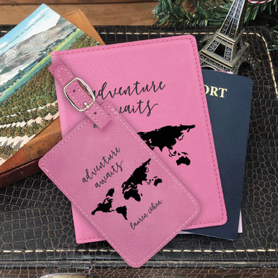 "Passport Cover & Luggage Tag Set, Personalized Graduation Gift ""Adventure Awaits"""
