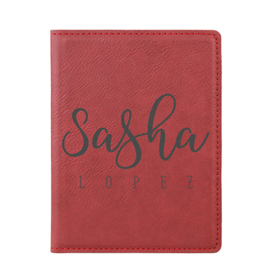 "Engraved Passport Cover, Custom Passport Holder, ""Sasha Lopez"""