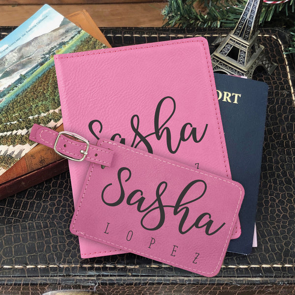 "Passport Cover & Luggage Tag Set, Personalized Graduation Gift ""Sasha Lopez"""