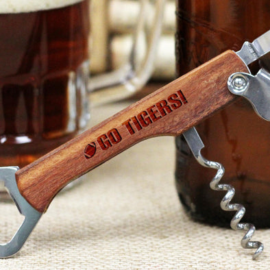 "Personalized Engraved Wood Bottle Opener - ""Football Go Tigers"""