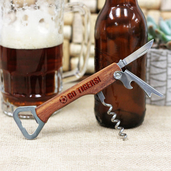 "Personalized Engraved Wood Bottle Opener - ""Soccer Go Tigers"""