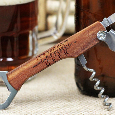 "Engraved Wood Bottle Opener - ""The Most Wonderful Time for a Beer, Cute Fonts"""