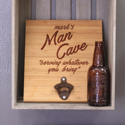 "Personalized Engraved Bamboo Wall Bottle Opener - ""Mark's Man Cave"""