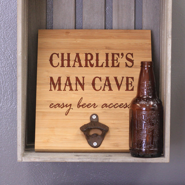"Personalized Engraved Bamboo Wall Bottle Opener - ""Charlie's Man Cave"""