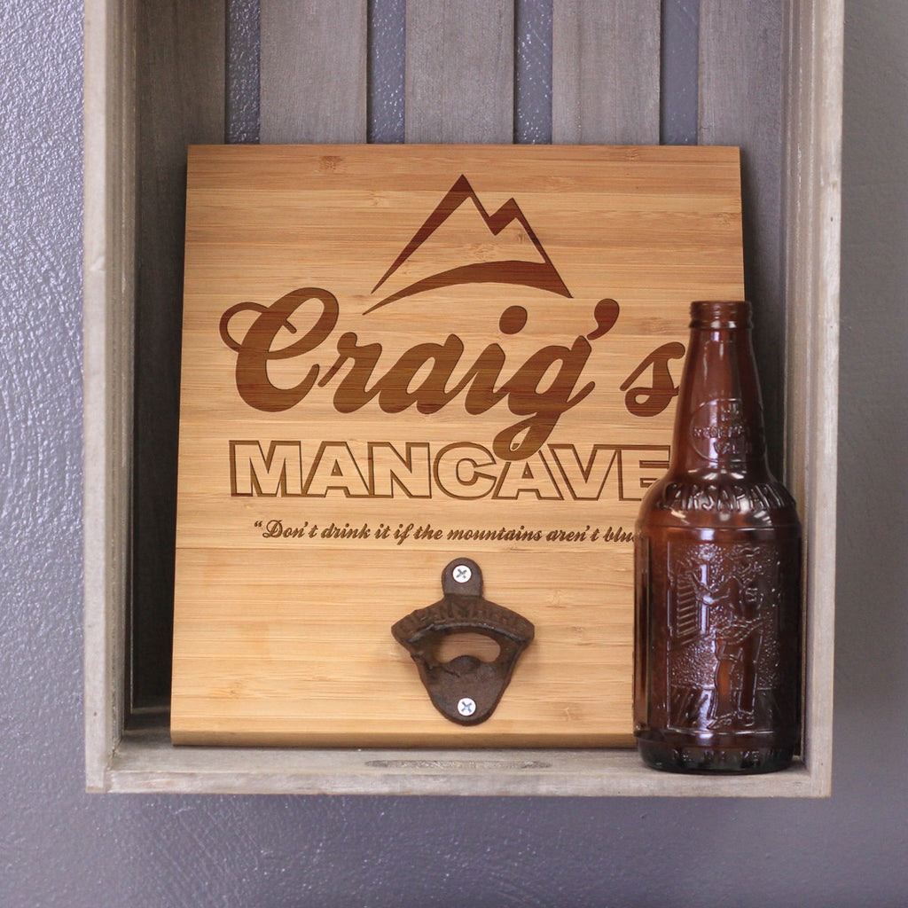 "Personalized Engraved Bamboo Wall Bottle Opener - ""Craig's Man Cave"""