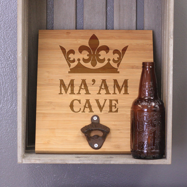 "Personalized Engraved Bamboo Wall Bottle Opener - ""Ma'am Cave"""