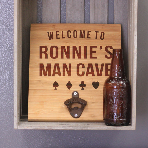 "Personalized Engraved Bamboo Wall Bottle Opener - ""Ronnie's Man Cave"""