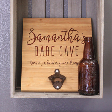 Personalized Engraved Wall Bottle Opener Babe Cave