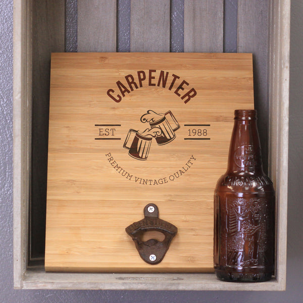 "Custom Engraved Bamboo Wall Bottle Opener - ""Carpenter"""
