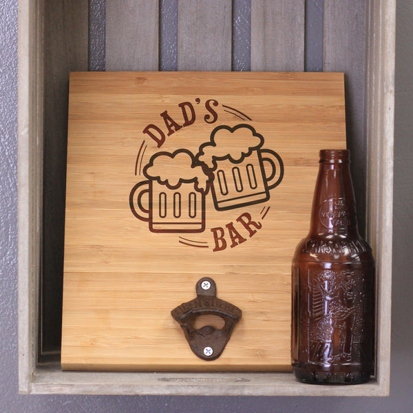 "Personalized Bamboo Wall Bottle Opener - ""Dad's Bar"""