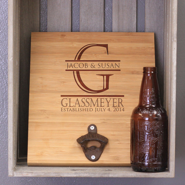 "Personalized Bamboo Wall Bottle Opener - ""Glassmeyer"""