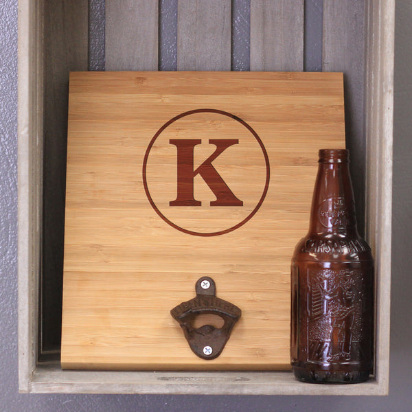 "Custom Engraved Bamboo Wall Bottle Opener - ""Initial in Circle"""