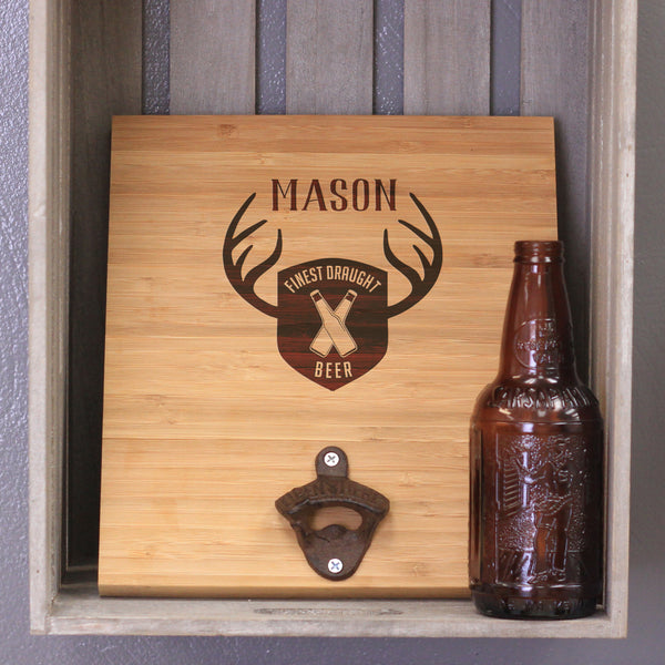 "Custom Engraved Bamboo Wall Bottle Opener - ""Mason Antlers"""
