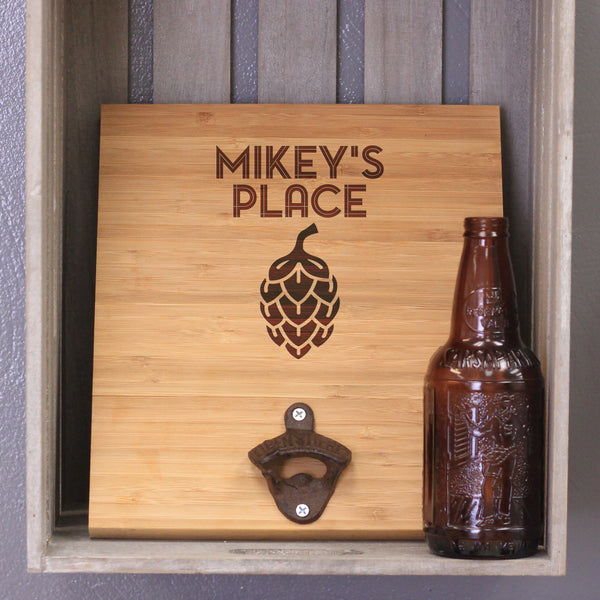 "Custom Engraved Bamboo Wall Bottle Opener - ""Mikey's Place"""