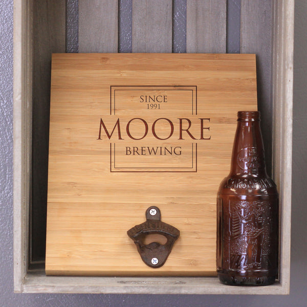 "Custom Engraved Bamboo Wall Bottle Opener - ""Moore Brewing"""