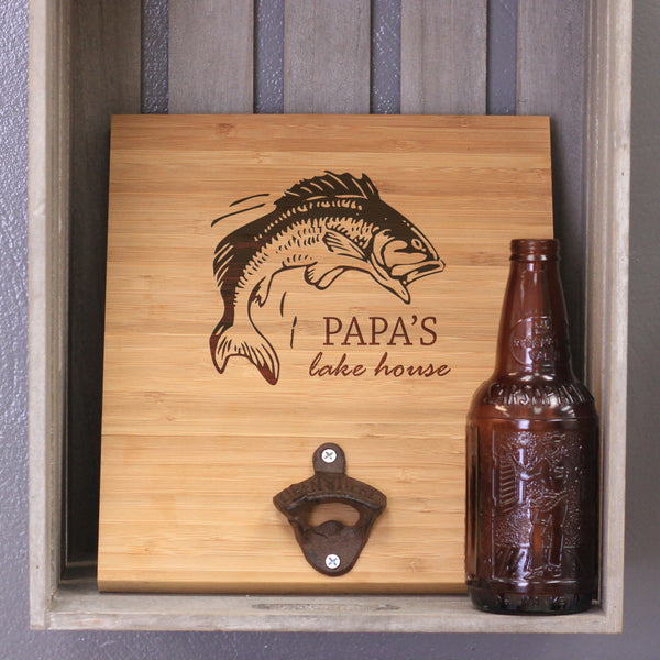 "Custom Engraved Bamboo Wall Bottle Opener - ""Papa's Lake House"""