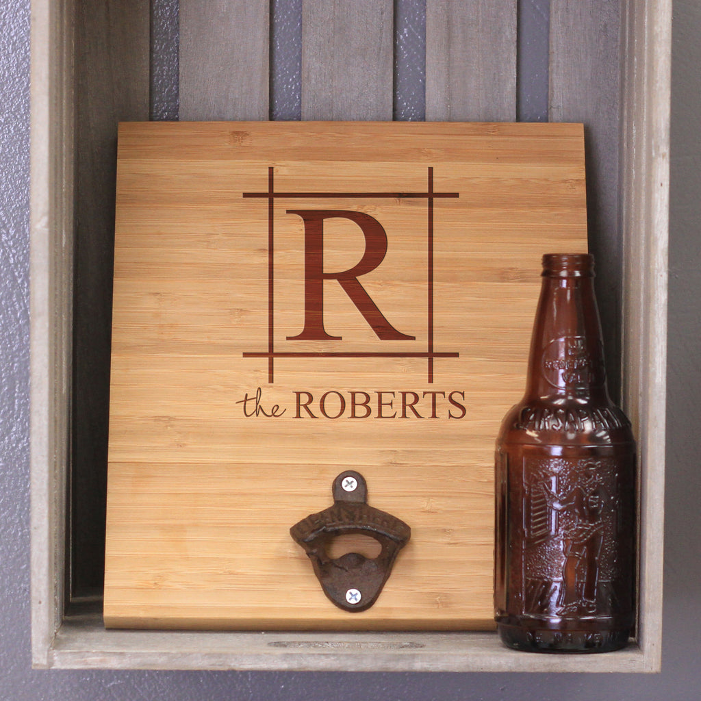 "Custom Engraved Bamboo Wall Bottle Opener - ""The Roberts"""