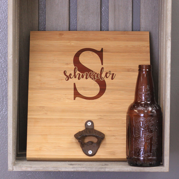 "Custom Engraved Bamboo Wall Bottle Opener - ""Schneider"""