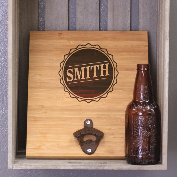 "Custom Engraved Bamboo Wall Bottle Opener - ""Smith"""
