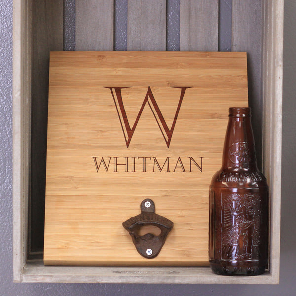 "Custom Engraved Bamboo Wall Bottle Opener - ""Whitman"""