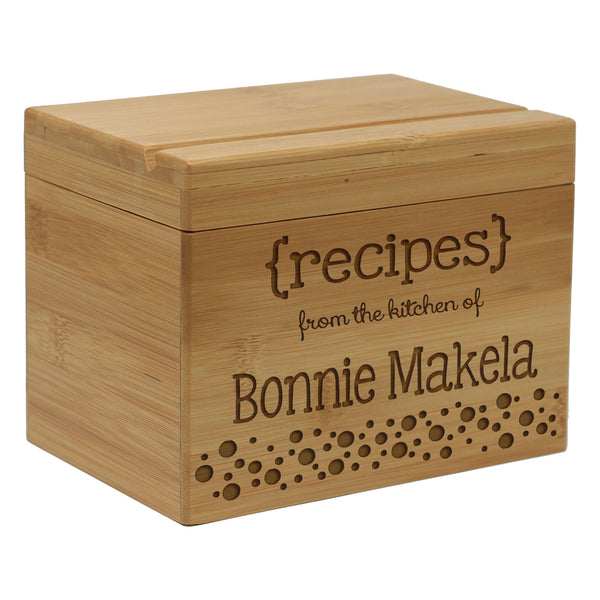 "Custom Recipe Box, Personalized Recipe Box, Recipe Box, ""Bonnie Makela with Dots"" Recipe Box"