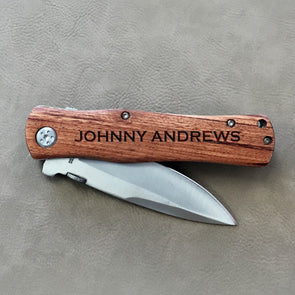 "Father's Day Personalized Wood Pocket Knife - ""Johnny Andrews"""