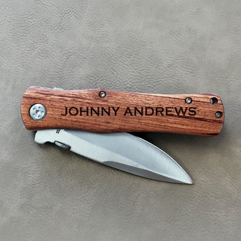 "Personalized Engraved Wood Pocket Knife - ""Johnny Andrews"""