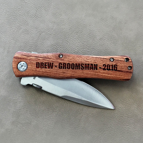 "Personalized Engraved Wood Pocket Knife - ""Drew Groomsman"""