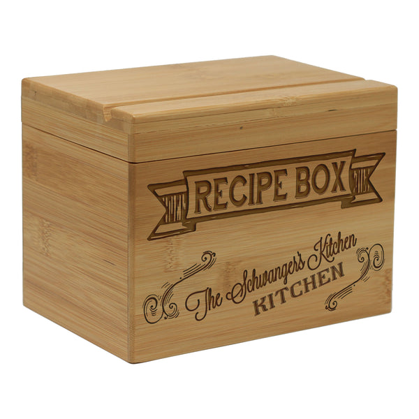 "Custom Recipe Box, Personalized Recipe Box, ""Banner Recipe Box"""