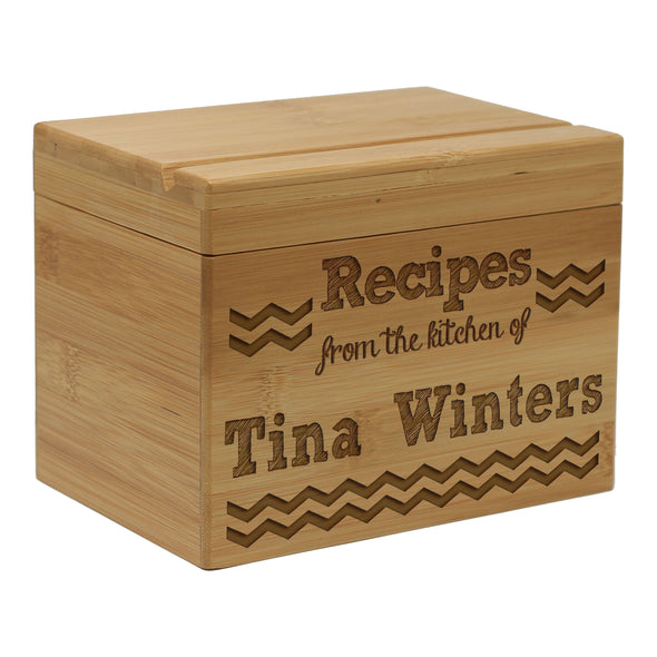 "Custom Recipe Box, Personalized Recipe Box, ""Tina Winters"" Chevron Stripes Recipe Box"