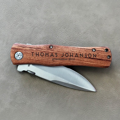 "Personalized Engraved Wood Pocket Knife - ""Thomas Johanson Groomsman"""