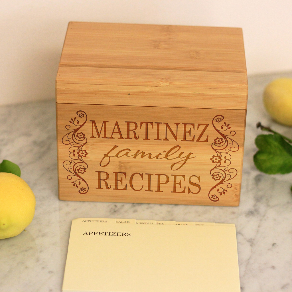 "Personalized Recipe Box, Custom ""Martinez Family Recipes"" Recipe Box"