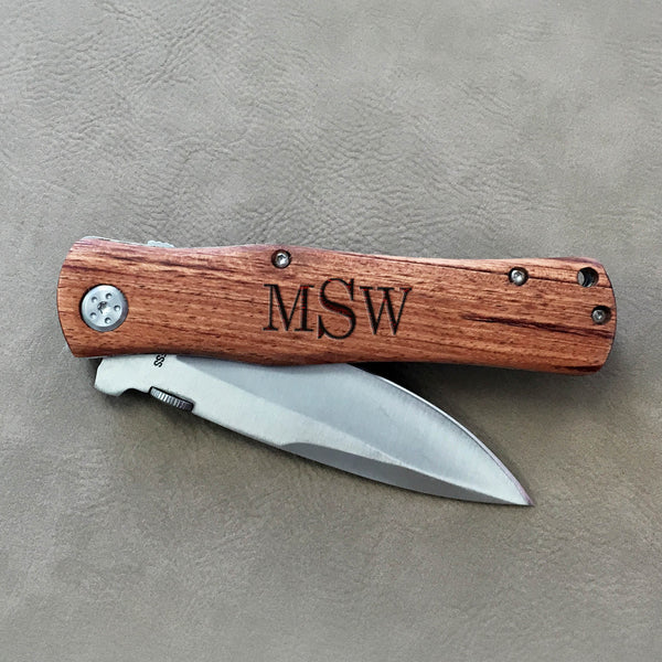 "Personalized Engraved Wood Pocket Knife - ""Monogram"""