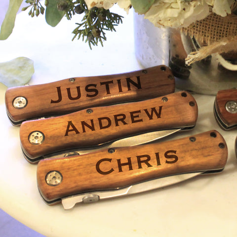 Personalized Set Of Wooden Pocket Knifes