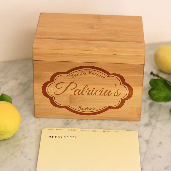 "Custom Recipe Box, Engraved Recipe Box, Personalized ""Patricia's"" Recipe Box"