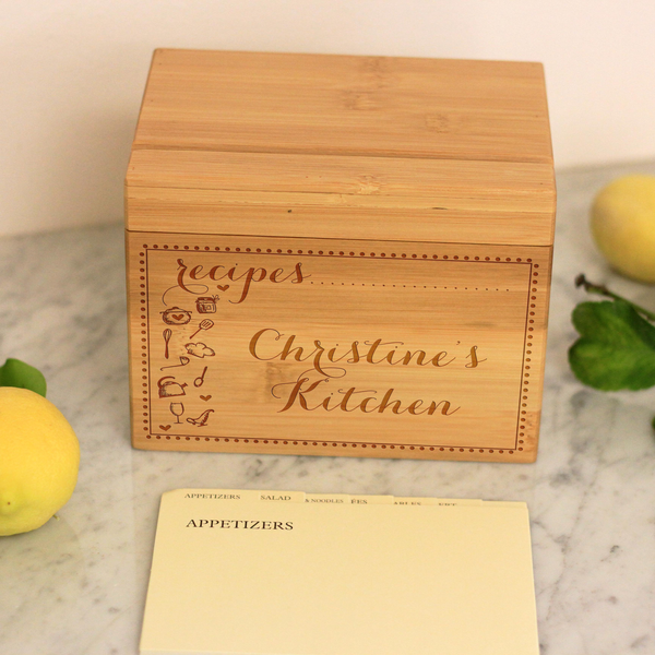 "Customized Recipe Box, Engraved Recipe Box, Custom ""Christine's Kitchen"" Recipe Box"