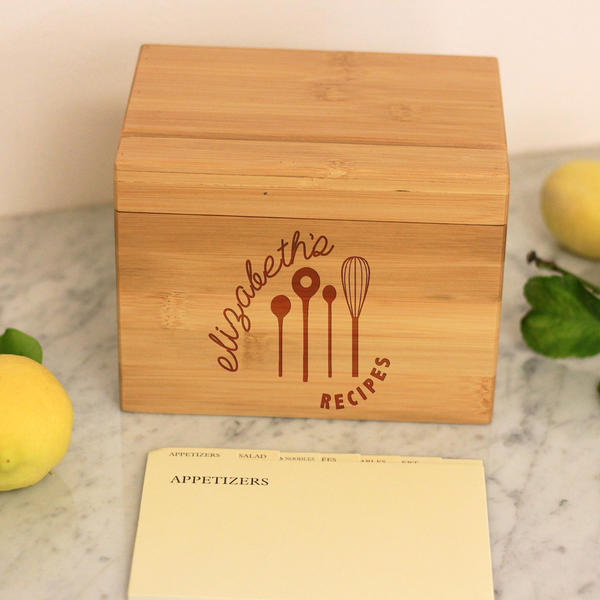 "Personalized Recipe Box, Custom Recipe Box,  ""Kitchen Tools"" Recipe Box"