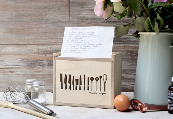 "Custom Recipe Box, Personalized Recipe Box, ""Cooking Knifes Recipe Box"""