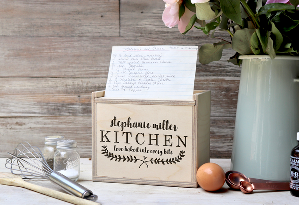 "Custom Recipe Box, Personalized Recipe Box, Engraved ""Loved Baked Into Every Bite"" Recipe Box"